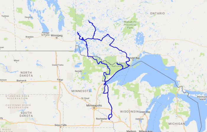 Map of a motorcycle tour on my Triumph Bonneville into Ontario